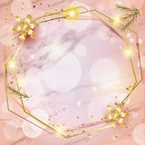 2019 Winter Holiday Coral Marble Bokeh Lights Trendy Decoration Gold geometric frames snowflakes vector illustration