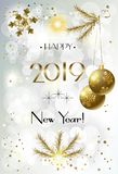 2019 Winter Holiday Happy New Year Christmas Bokeh Lights Coral Trendy Decoration Gold CARD royalty free illustration