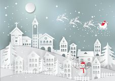 Winter holiday with home and Santa Claus background. Christmas season. vector illustration paper art style.  stock illustration