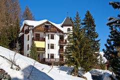 Winter holiday house in Davos stock image