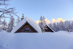 Winter holiday house. In slovenia alps Royalty Free Stock Photo