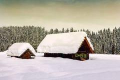 Winter holiday house in slovenia alps Stock Photos