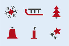 Winter and Holiday Icon-Set #1. A set of 6 christmas symbols Royalty Free Stock Image