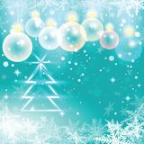 Winter holiday illustration of christmas balls and fir tree. Royalty Free Stock Images