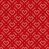 Winter Holiday Knitted Pattern with Hearts and Snowflakes. Valentine`s Day Seamless Vector Background Stock Photography