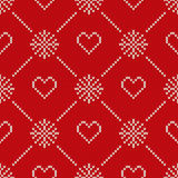 Winter Holiday Knitted Pattern with Hearts and Snowflakes. Valentine& x27;s Day Seamless Vector Background Royalty Free Stock Photography
