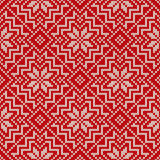 Winter Holiday Knitted Pattern with Snowflakes. Seamless Vector Stock Images