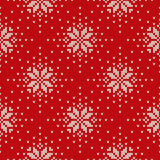 Winter Holiday Knitted Pattern with Snowflakes. Seamless Vector Royalty Free Stock Photo
