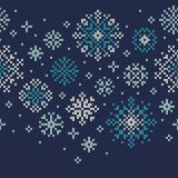 Winter Holiday Knitted Pattern with Snowflakes. Vector Seamless Royalty Free Stock Photos