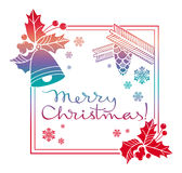 Winter holiday label with greeting text `Merry Christmas!`. Royalty Free Stock Images