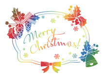 Winter holiday label with greeting text `Merry Christmas!`. Stock Photos