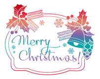 Winter holiday label with greeting text `Merry Christmas!`. Stock Photography