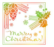 Winter holiday label with greeting text `Merry Christmas!`. Stock Image