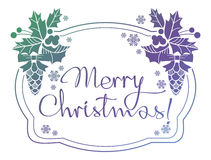 Winter holiday label with greeting text `Merry Christmas!`. Stock Photo