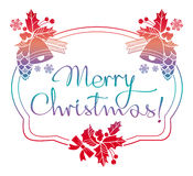 Winter holiday label with greeting text `Merry Christmas!`. Royalty Free Stock Photography