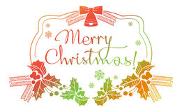 Winter holiday label with greeting text `Merry Christmas!`. Stock Images