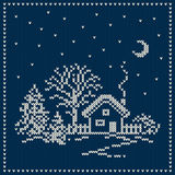 Winter Holiday Landscape. Christmas Sweater Design. Seamless Kni Royalty Free Stock Image