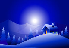 Winter Holiday Night Landscape. Is a  landscape Royalty Free Stock Photo