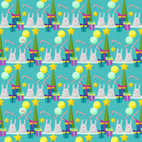 Winter holiday pattern background with funny rabbits and fir wit Royalty Free Stock Images