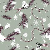 Winter holiday pattern with branches and snowflakes. Winter festive pattern with spruce branches and paper snowflakes Stock Photography
