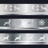 Winter holiday pattern vector. Winter holiday pattern, vector file with reindeer and snowflake on silver background. Decorative celebration art. File organized Stock Photography
