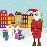 Winter holiday picture for greeting cards with cartoon Santa com Royalty Free Stock Photos