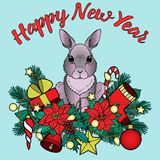 Happy New Yaer Pattern with Rabbit. Winter holiday plants with rabbit pattern. Colorful New Year composition on blue background for greeting cards, mock ups and Stock Images