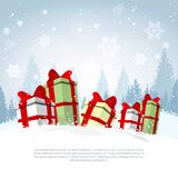 Winter Holiday Poster Gift Boxes Over Snowy Forest Background, Banner With Copy Space Decoration Design. Vector Illustraion Stock Images