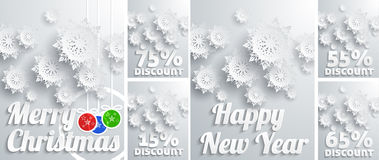 Winter holiday sales background with snowflakes Royalty Free Stock Image