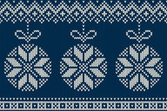 Winter Holiday Seamless Knitted Pattern with Christmas Tree Ball Stock Photography