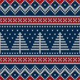 Winter Holiday Seamless Knitted Pattern with Christmas Tree Stock Photography