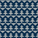 Winter Holiday Seamless Knitted Pattern with Christmas Tree Stock Image