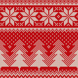 Winter Holiday Seamless Knitted Pattern. Nordic Sweater Design Royalty Free Stock Photo