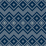 Winter Holiday Seamless Knitted Pattern Stock Photos