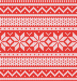 Winter holiday seamless knitted pattern. Red and white vector illustartion stock illustration