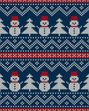 Winter Holiday Seamless Knitted Pattern with Snowman and Christm Stock Image