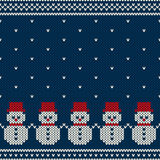 Winter Holiday Seamless Knitted Pattern with Snowmans Stock Images
