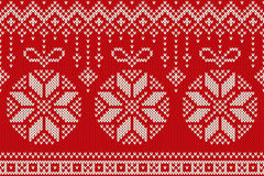 Winter Holiday Seamless Knitting Pattern with Christmas Balls Stock Image
