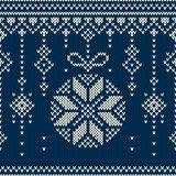 Winter Holiday Seamless Knitting Pattern with a Christmas Tree Balls Royalty Free Stock Images