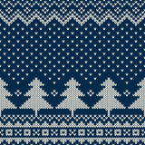 Winter Holiday Seamless Knitting Pattern with a Christmas Tree Stock Photo