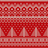 Winter Holiday Seamless Knitting Pattern with a Christmas Tree Royalty Free Stock Image