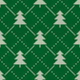 Winter Holiday Seamless Knitting Pattern with a Christmas Tree Stock Images