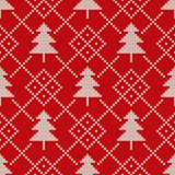 Winter Holiday Seamless Knitting Pattern with a Christmas Tree Royalty Free Stock Images