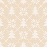 Winter Holiday Seamless Knitting Pattern with a Christmas Trees. Fair Isle Knitting Christmas and New Year Background Royalty Free Stock Photo