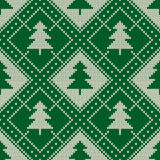 Winter Holiday Seamless Knitting Pattern with a Christmas Trees. Knitting Sweater Design. Wool Knitted Texture Royalty Free Stock Image