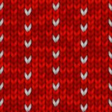 Winter Holiday Seamless Knitting Pattern with a Snowflakes. Red knitted sweater design. Vector illustration for. Winter Holiday Seamless Knitting Pattern with a Stock Photos