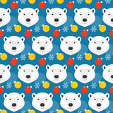 Winter holiday seamless pattern background with cartoon bear Royalty Free Stock Images