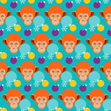 Winter holiday seamless pattern background with monkey Stock Photo