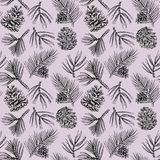 Winter holiday seamless pattern with hand drawn pine branches and cones. Stock Image