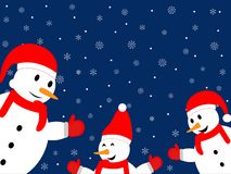 Three happy snowman on a dark blue background with snowflakes stock images